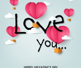 Valentines day love background with paper cloud vectors