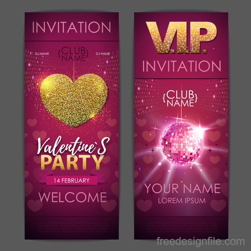 Valentines day party invitation card vector 01