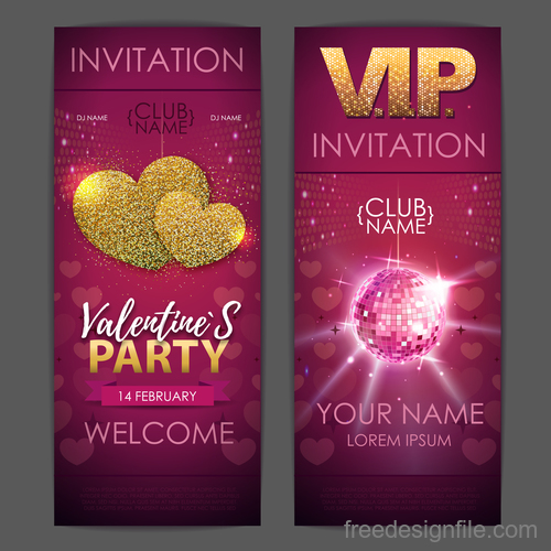 Valentines day party invitation card vector 02