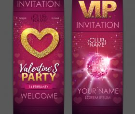 Valentines day party invitation card vector 03