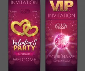 Valentines day party invitation card vector 04