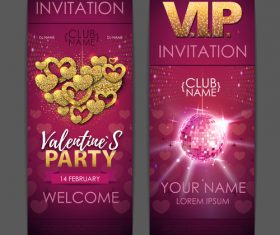Valentines day party invitation card vector 05