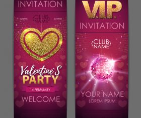 Valentines day party invitation card vector 06