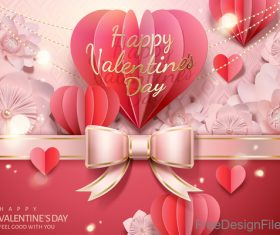 Valentines day pink bows card vector
