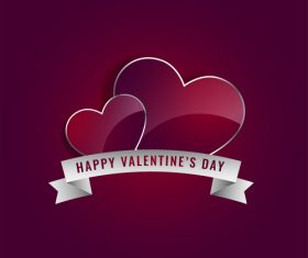 Valentines day ribbon banner with glass heart shape vectors