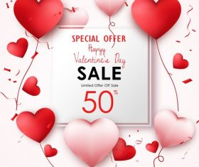 Valentines day sale background with air heart vector