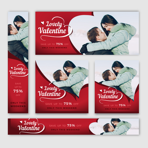 Valentines day sale card vector kit 02
