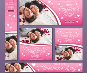 Valentines day sale card vector kit 04