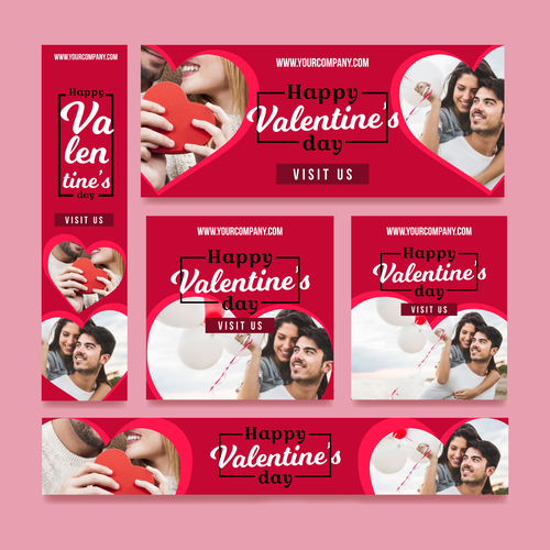 Valentines day sale card vector kit 05