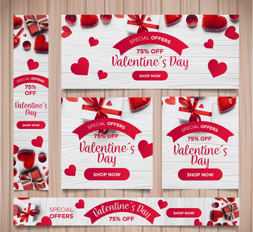 Valentines day sale card vector kit 09