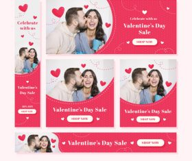 Valentines day sale card vector kit 10
