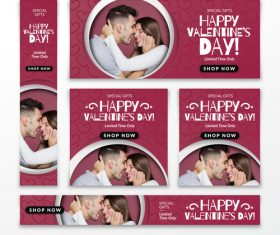 Valentines day sale card vector kit 23