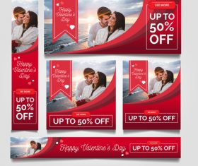 Valentines day sale card vector kit 17