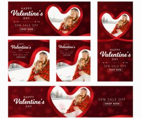 Valentines day sale card vector kit 21