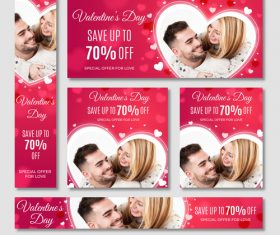 Valentines day sale card vector kit 15