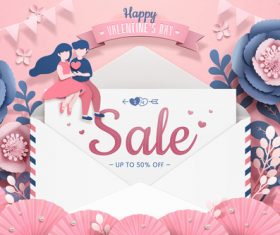 Valentines day sale discount card design vector