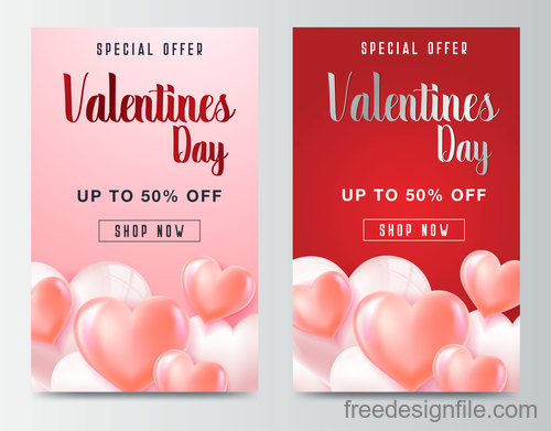 Valentines day special offer discount flyer vectors 01