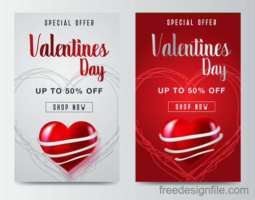 Valentines day special offer discount flyer vectors 02