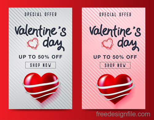 Valentines day special offer discount flyer vectors 03
