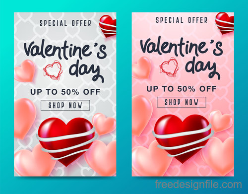 Valentines day special offer discount flyer vectors 04