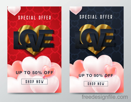 Valentines day special offer discount flyer vectors 05