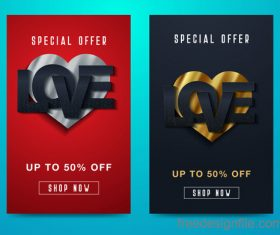 Valentines day special offer discount flyer vectors 06