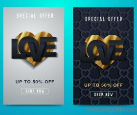 Valentines day special offer discount flyer vectors 07