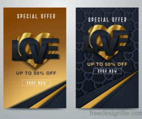 Valentines day special offer discount flyer vectors 08