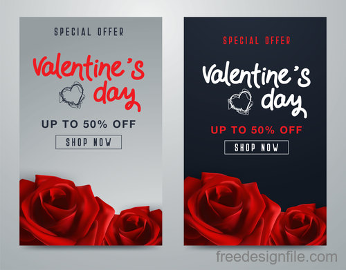 Valentines day special offer discount flyer vectors 09