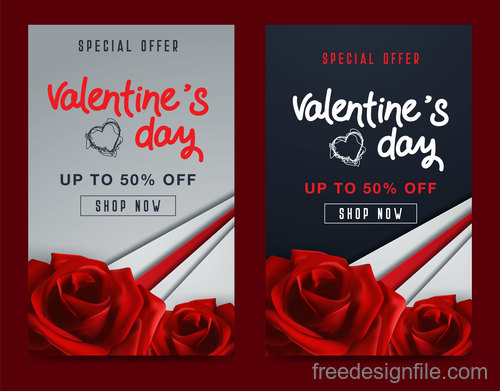 Valentines day special offer discount flyer vectors 10