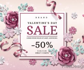 Valentines flowers with sale background vector 01