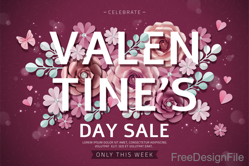 Valentines flowers with sale background vector 02