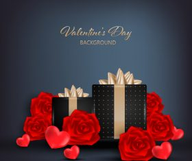 Valentines gift with red rose and heart vector