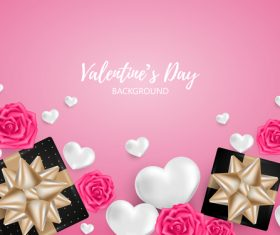Rose borders with valentines day background vector