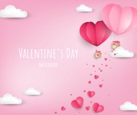 Valentines pink background with paper cloud vector
