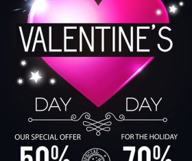 Valentines very special offern flyer template vector 01