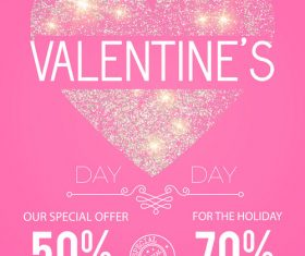Valentines very special offern flyer template vector 04