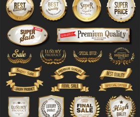 Various golden badge and labels vector set