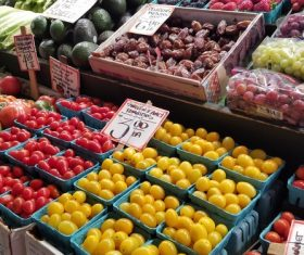 Vegetable market fruit stall Stock Photo