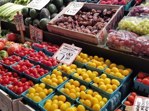 Vegetable market fruit stall Stock Photo