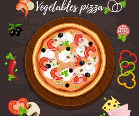 Vegetables pizza design vector