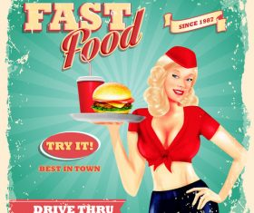 Vintage fast food poster with beautiful girl vector 01