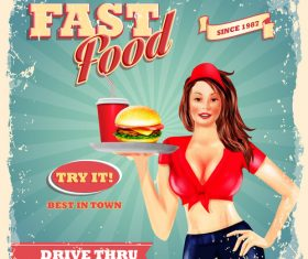 Vintage fast food poster with beautiful girl vector 02