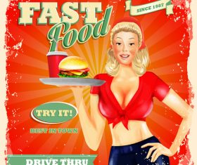 Vintage fast food poster with beautiful girl vector 03