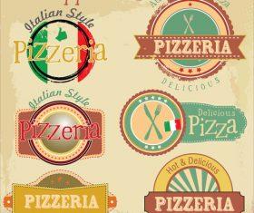 Vintage pizzeria badge design vector