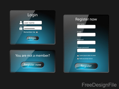 Website member login with register Interface vector material