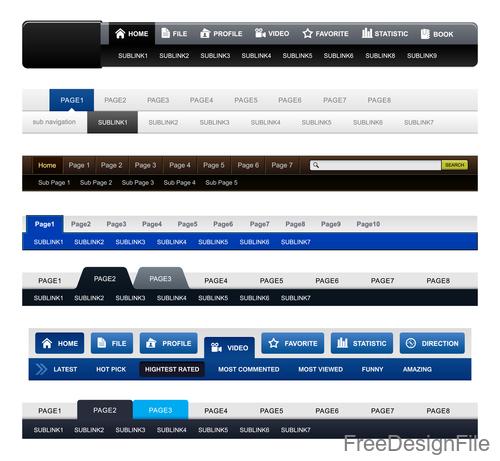 Website menu navigation design vectors material 02