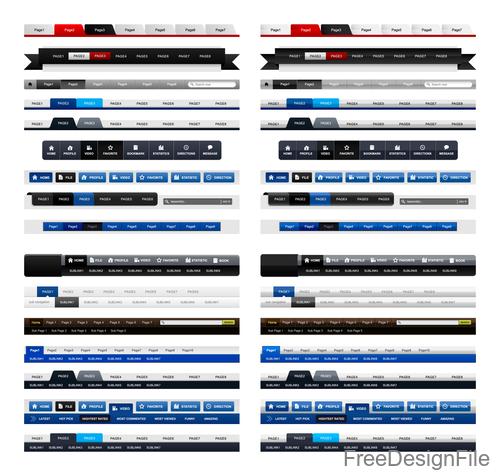 Website menu navigation design vectors material 03