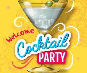 Welcome cocktail party flyer template vector 01
