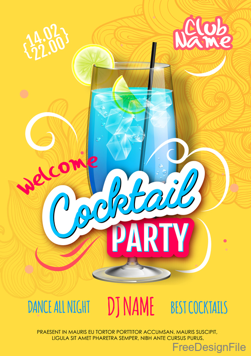 Welcome cocktail party flyer template vector 02